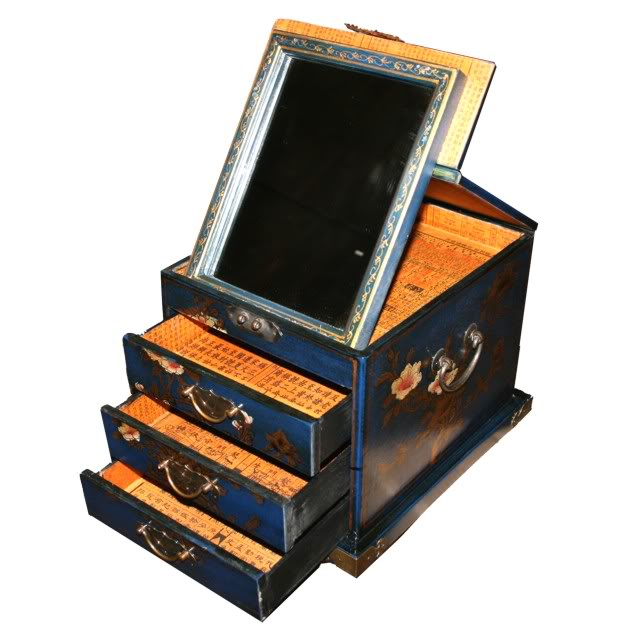 Blue Luxury Jewellery Box with Fold Out Mirror - Open View