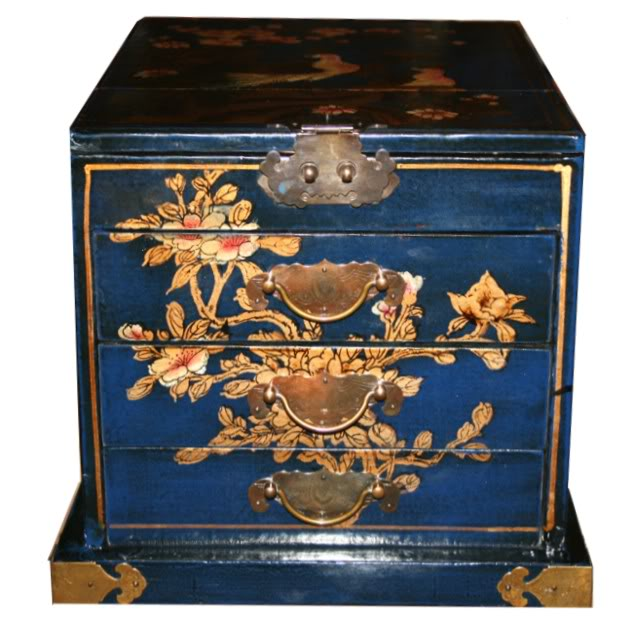 Blue Luxury Jewellery Box with Fold Out Mirror - Front View