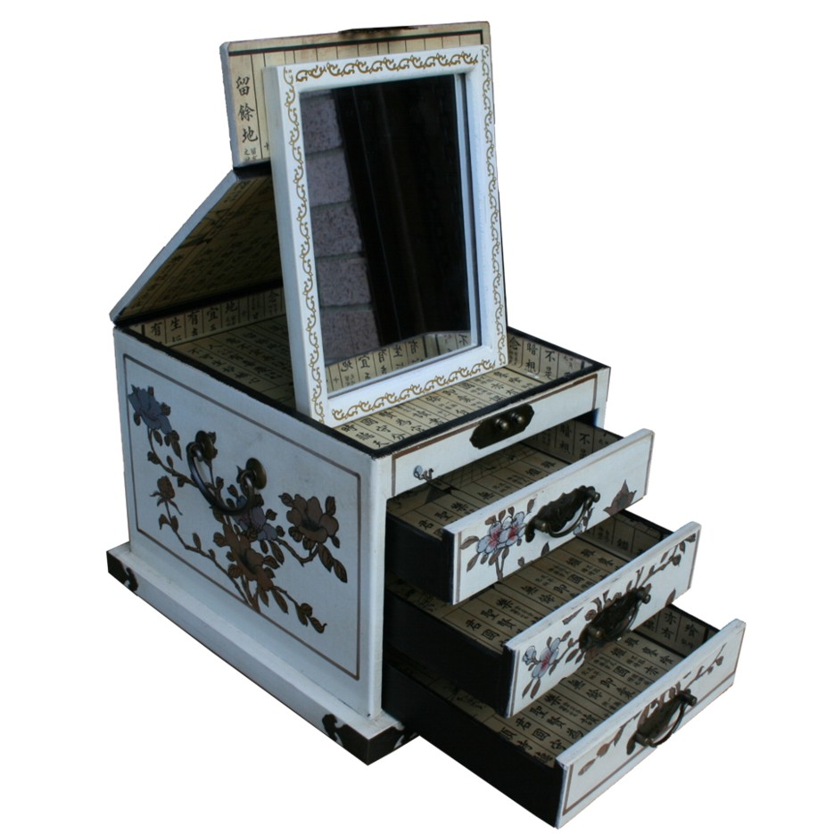 Creamy Flowers Three Drawers Large Mirror Box