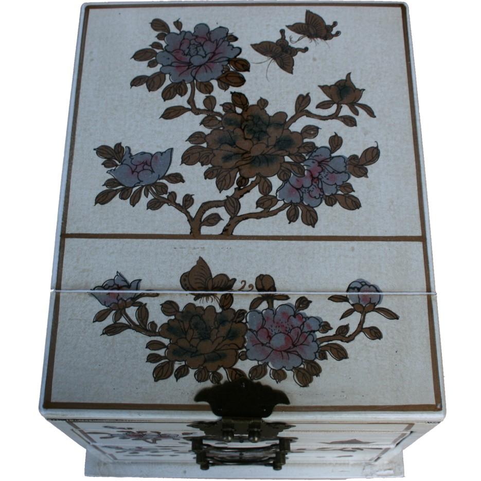 Creamy Three Drawers Large Mirror Box - Top View Flower