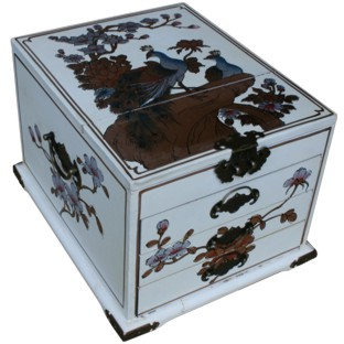 Large Creamy Three-Drawer Mirror Box - Peacock