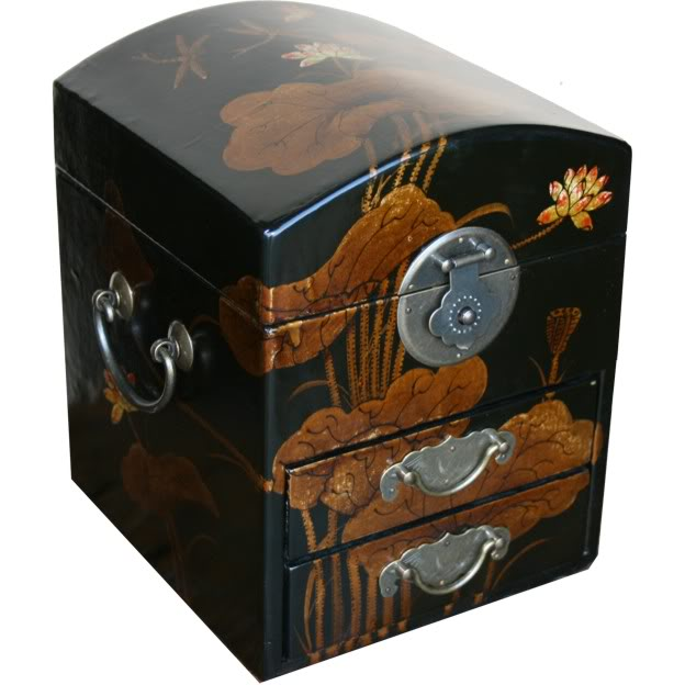 Round Top Black Jewel Box Dragonfly Painting - Side View