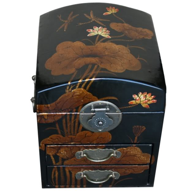 Round Top Black Jewel Box Dragonfly Painting