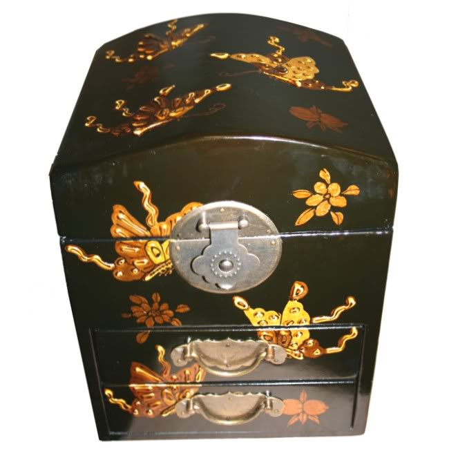 Round Top Embossed Butterfly Mirror Box