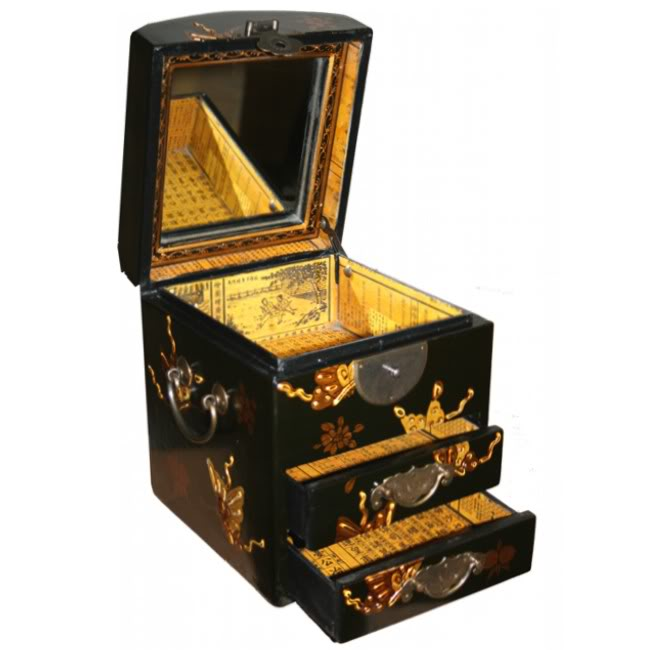 Round Top Embossed Butterfly Mirror Box - Open View