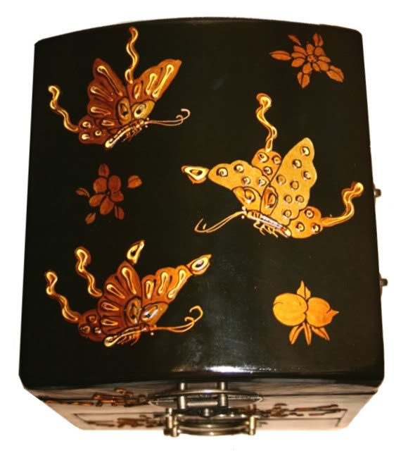 Round Top Embossed Butterfly Mirror Box - Top View
