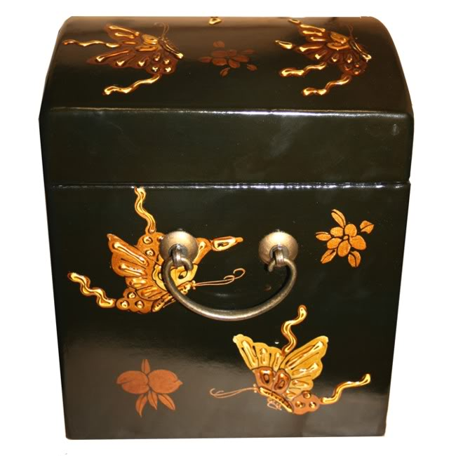 Round Top Embossed Butterfly Mirror Box - Side View