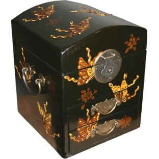 Dome Top Black Two Drawers Mirror Box - Butterflies