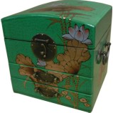 Dome Top Green Two Drawers Mirror Box - Dragonfly