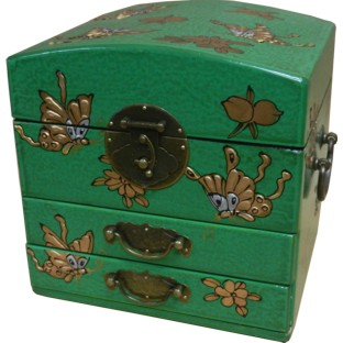 Dome Top Green Two Drawers Mirror Box - Butterflies