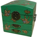 Dome Top Green Mirror Box - Butterflies