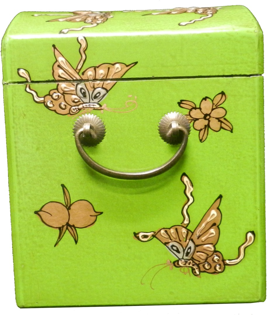 Lime Green Two Drawers Mirror Box - Embossed Butterfly
