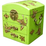 Dome Top Green Two Drawers Mirror Box - Embossed Butterflies