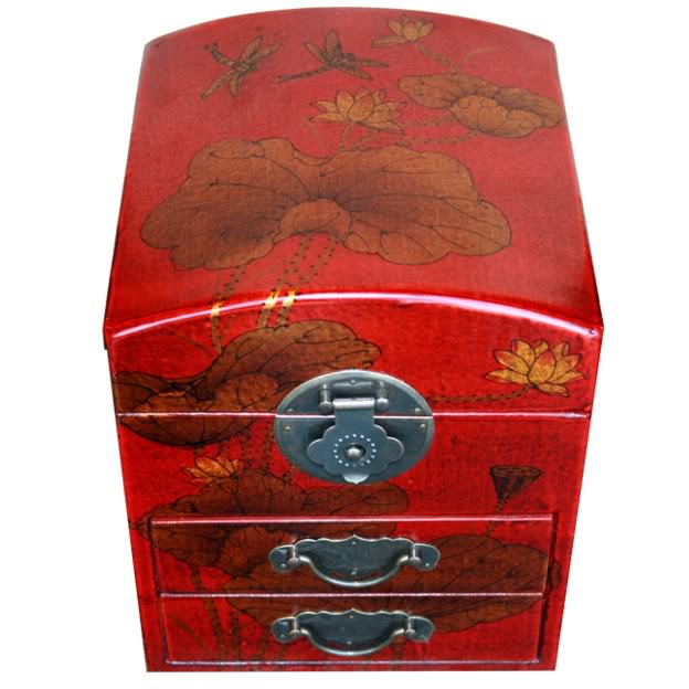 Red Two Drawers Mirror Box - Dragonfly