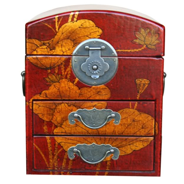 Red Two Drawers Mirror Box - Dragonfly - Front View