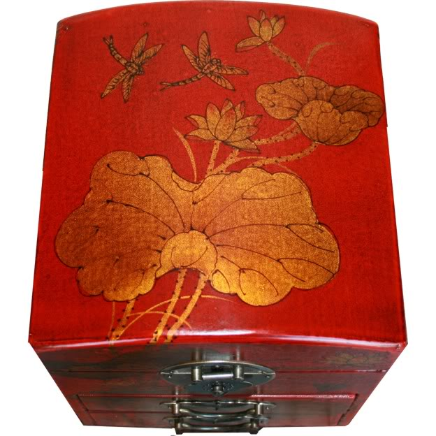 Red Two Drawers Mirror Box - Dragonfly - Top View