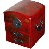 Dome Top Red Two Drawers Mirror Box - Dragonfly
