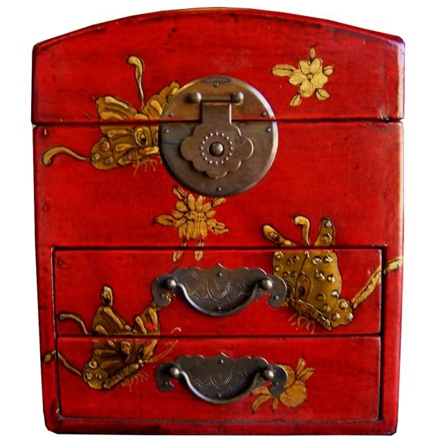 Red Two Drawers Mirror Box - Embossed Butterfly