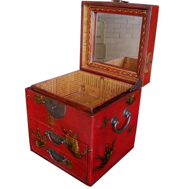 Red Two Drawers Mirror Box - Embossed Butterfly - Top Open View