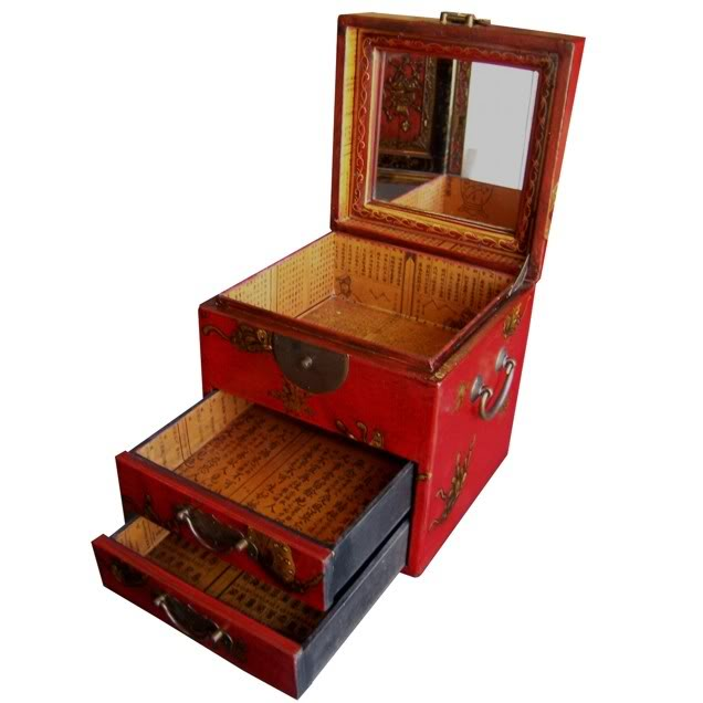Red Two Drawers Mirror Box - Embossed Butterfly - Drawer Open View