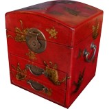 Dome Top Red Two Drawers Mirror Box - Embossed Butterflies