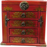 Chinese Red Mirror Box Dragon and Phoenix