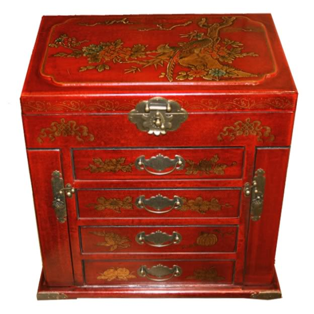 Four Drawers Two Side Doors Red Mirror Box