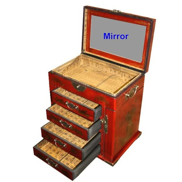 Four Drawers Two Side Doors Red Mirror Box - Drawer Open View