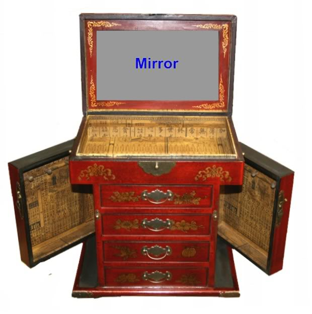 Four Drawers Two Side Doors Red Mirror Box - Side Open View