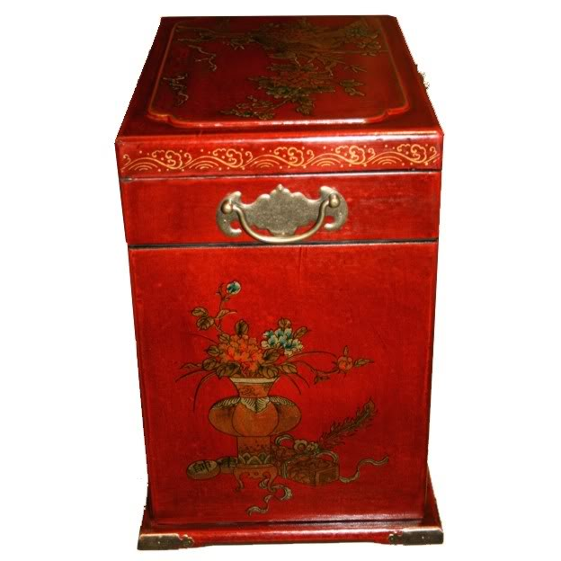 Four Drawers Two Side Doors Red Mirror Box - Side View