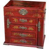 Four-Drawers Two Side Doors Red Mirror Box