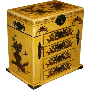 Oriental Beige Mirror Box Flower and Birds