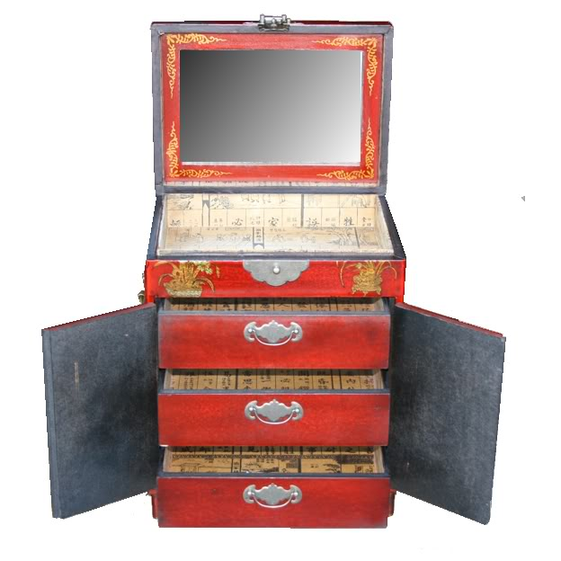 Three Drawers Two Doors Red Mirror Box -Back View