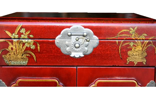 Three Drawers Two Doors Red Mirror Box - Lock Detail