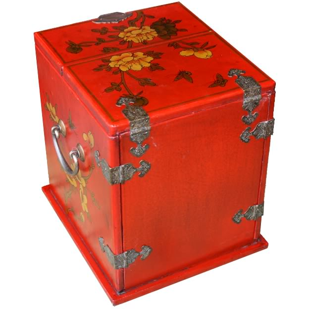 Red Multi-Purpose Jewellery Box - Back & Top  View
