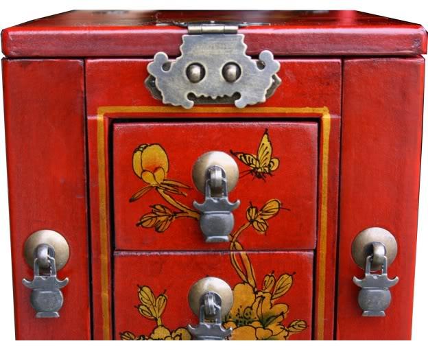 Red Multi-Purpose Jewellery Box - Detail