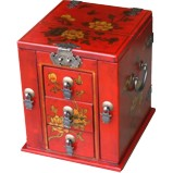Red Multi-Purpose Jewellery Box with Mirror - Flower