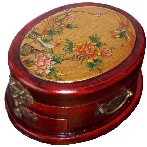 Oval Shape with Drawer Red Mirror Box