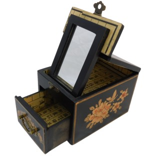 Black Jewellery Box with Stand-Up Mirror - Bird 1 Drawer