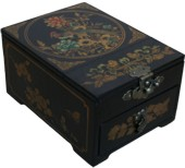 Black Jewellery Box with Stand-Up Mirror - Peacock