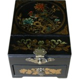 Black Jewellery Box with Stand-Up Mirror - Flower and Bird