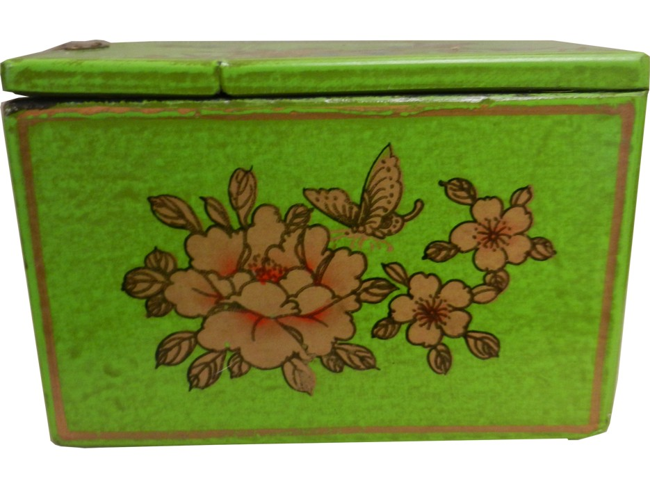 Light Green Jewellery Box with Fold Out Mirror - Bird 1 Drawer - Side View