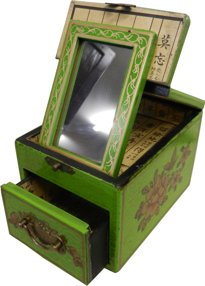 Light Green Jewellery Box with Fold Out Mirror - Bird 1 Drawer - Open View