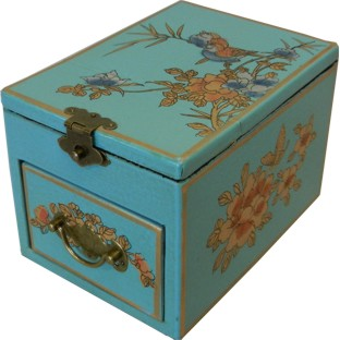 Light Blue Jewellery Box with Stand-Up Mirror