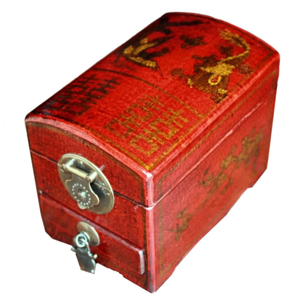Red One Drawer Mirror Box - Dragon & Phoenix - Angel View