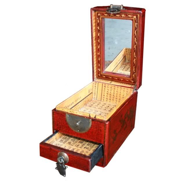 Red One Drawer Mirror Box - Dragon & Phoenix - Open View
