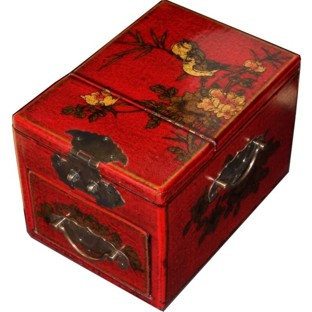 Red Jewellery Box with Stand-Up Mirror - Bird 1 Drawer