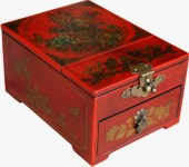 Red Jewellery Box with Stand-Up Mirror - Peacock