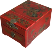 Red Jewellery Box with Stand-Up Mirror - Flower and Birds