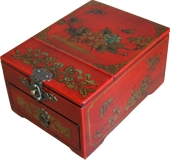 Red Jewellery Box with Stand-Up Mirror - Flower and Butterflies